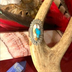 Jewelry - 🌹NWT Tribal spiny oyster/turquoise matrix ring
